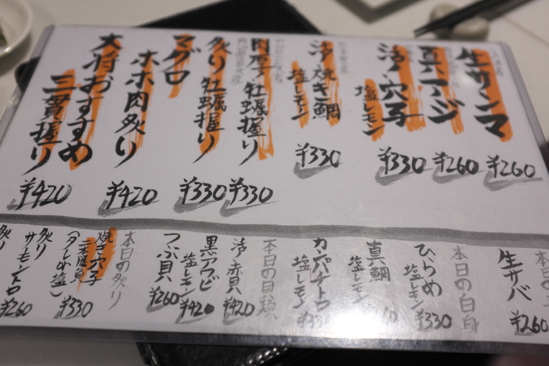 寿司虎のメニュー